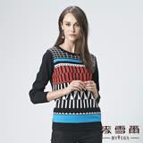 【麥雪爾】純棉幾何圖形針織上衣-黑