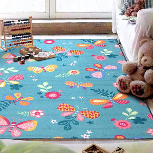 【范登伯格】花舞★可愛蝴蝶世界進口地毯-小款(藍)-100x150cm