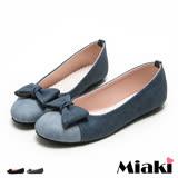 【Miaki】MIT 包鞋韓風拼色平底娃娃鞋 (藍色 / 黑色)