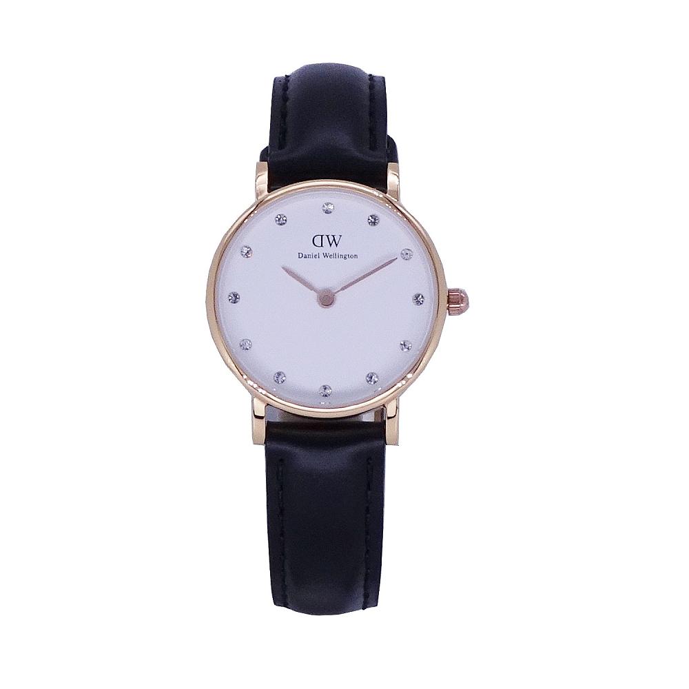DW Daniel Wellington 中的珍貴收藏 女性皮革腕錶-黑色 玫瑰金 26mm-0901DW