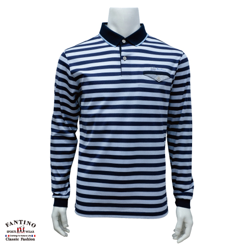 【FANTINO】男裝 65支雙絲光棉polo衫(藍橫條) 641103