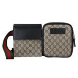 Gucci Supreme系列PVC皮革綠紅綠織帶雙口袋腰包(咖啡/黑邊)