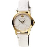 GUCCI古馳 G-Timeless 蜜峰雙G女錶-米白x金框/28mm YA126580