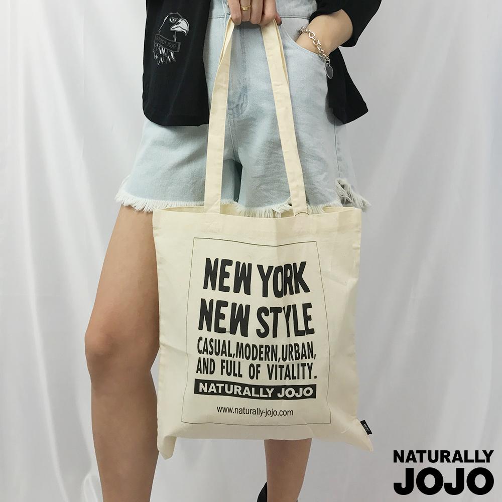 ~NATURALLY JOJO~NEW YORK 帆布袋 淺卡其