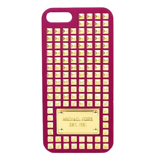 MICHAEL KORS 鐵牌鉚釘iPHONE 5 手機殼(桃)(附盒)
