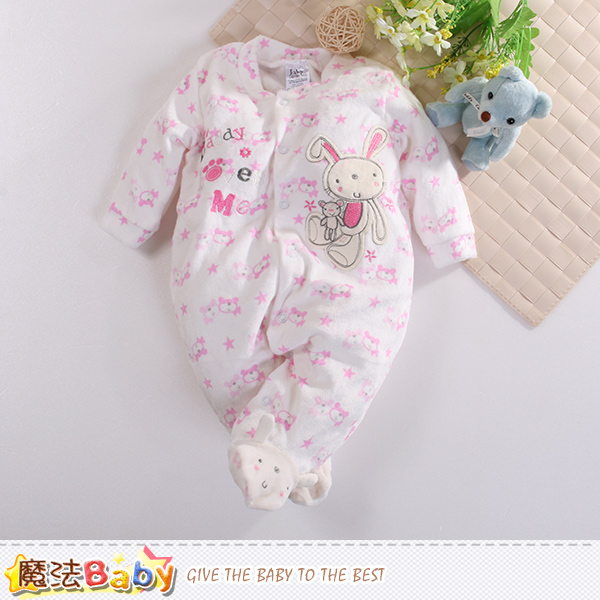 魔法Baby 包腳連身衣 法國設計細絲絨包屁衣 k60418