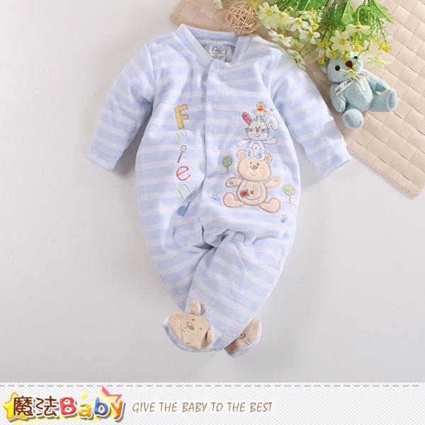 魔法Baby 包腳連身衣 法國設計細絲絨包屁衣 k60420