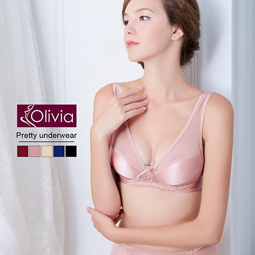 【Olivia】無鋼圈無痕網紗舒適聚攏內衣(藕粉)