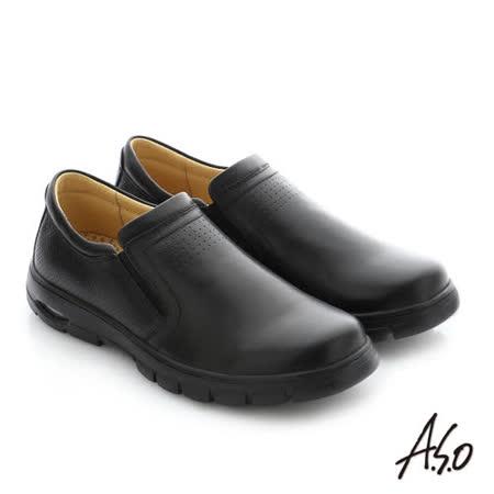 A.S.O阿瘦  真皮直套式機能休閒鞋(黑)