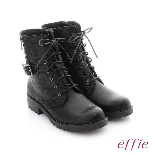 effie 個性美型 防潑水麂皮扣帶綁帶中筒靴(黑)