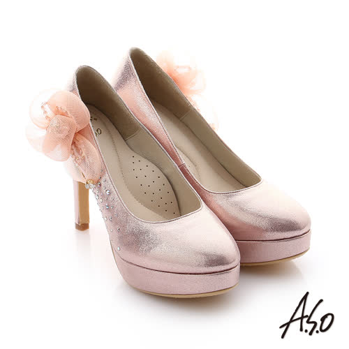A.S.O 璀璨注目 全真皮花金蔥布貼鑽高跟鞋(粉紅)