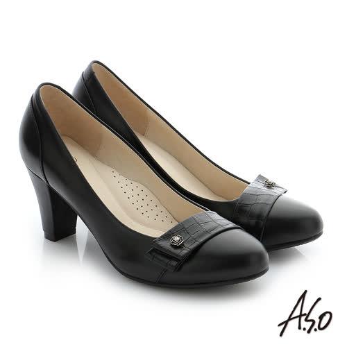 A.S.O 個性美型 真皮飾釦奈米窩心高跟鞋(黑)