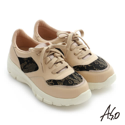 A.S.O 輕量抗震 全真皮拼接蕾絲綁帶奈米休閒鞋(卡其)