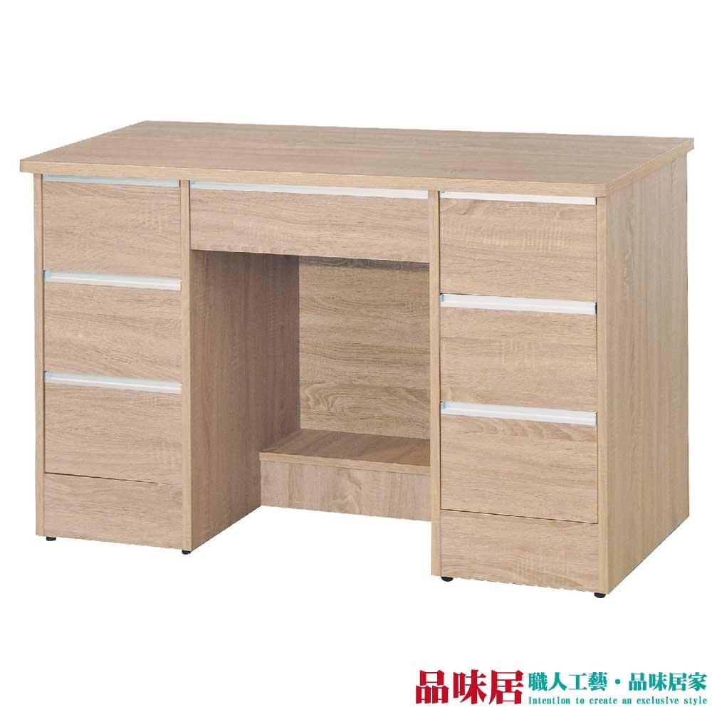 【品味居】艾里 時尚4尺木紋七抽書桌/電腦桌
