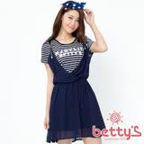 betty's貝蒂思  吊帶條紋拼接假兩件雪紡洋裝(深藍)