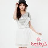 betty's貝蒂思  吊帶條紋拼接假兩件雪紡洋裝(淺灰)