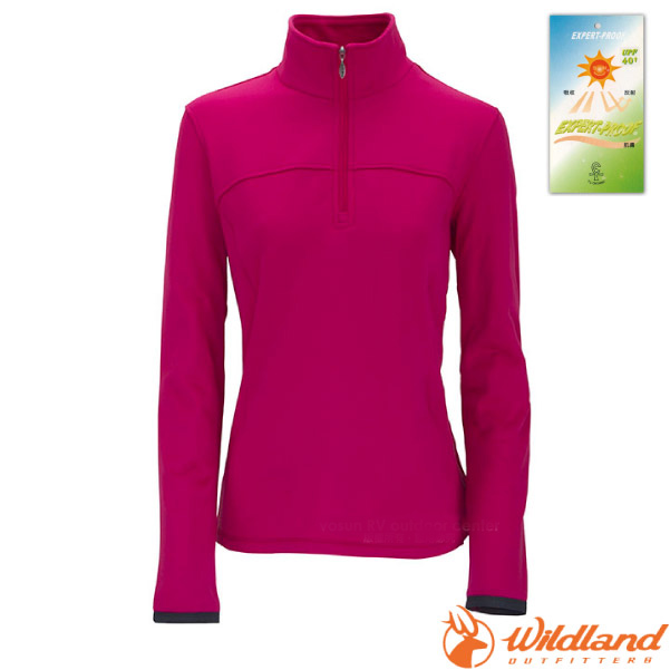 【荒野 WildLand】女款 彈性針織保暖衣.半開襟長袖立領衫.保暖上衣.刷毛衣..中層衣/保暖抗UV.吸濕快乾/0A02601 桃紅