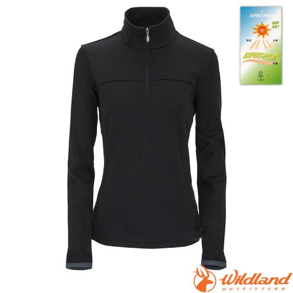 【荒野 WildLand】女款 彈性針織保暖衣.半開襟長袖立領衫.保暖上衣.刷毛衣.中層衣/保暖抗UV.吸濕快乾/0A02601 黑
