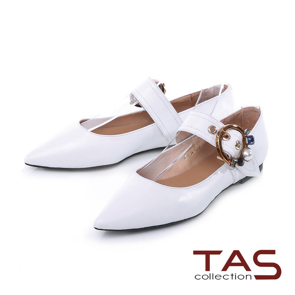 TAS 彩色寶石大圓扣繫帶尖頭平底鞋-焦點白