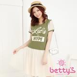 betty's貝蒂思 字母印花拼接蕾絲短袖洋裝(綠色)