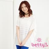 betty's貝蒂思 線條透膚蕾絲寬版上衣(白色)
