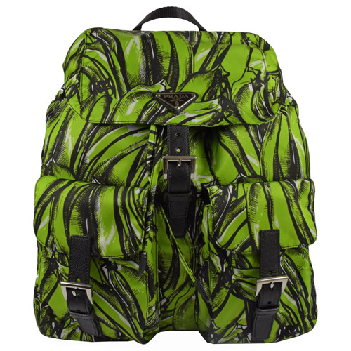 PRADA 經典三角LOGO尼龍雙口袋後背包.綠
