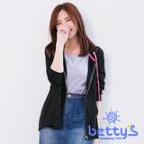 betty's貝蒂思 背後拼接格子七分袖連帽外套(黑色)