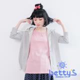 betty's貝蒂思 背後拼接格子七分袖連帽外套(淺灰)