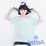 betty's貝蒂思 排扣配色金邊線條蕾絲上衣(淺草綠)