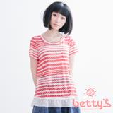 betty's貝蒂思 圓領星星透膚下擺拼接雪紡上衣(紅色)