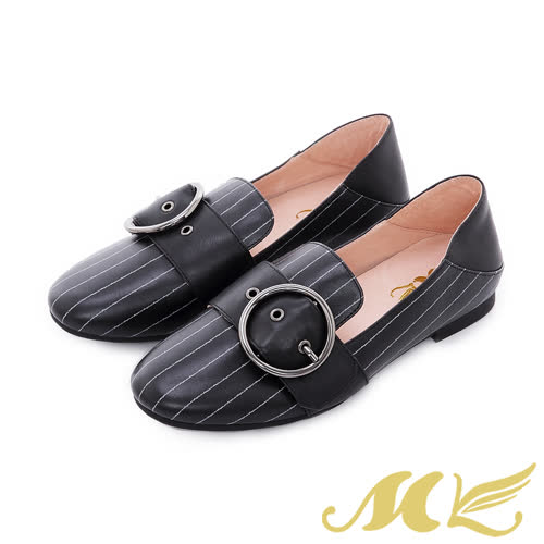 MK-全真皮-紳士條紋寬腰帶平底粗跟休閒鞋-黑色