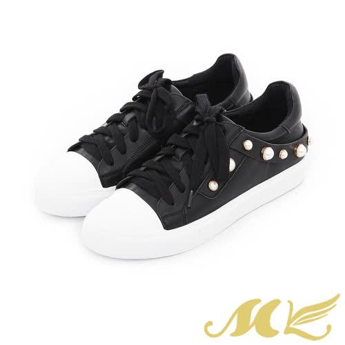 MK-手作真皮-珍珠飾帶綁帶平底休閒鞋-黑色