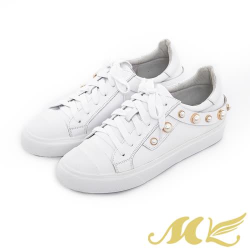 MK-手作真皮-珍珠飾帶綁帶平底休閒鞋-白色