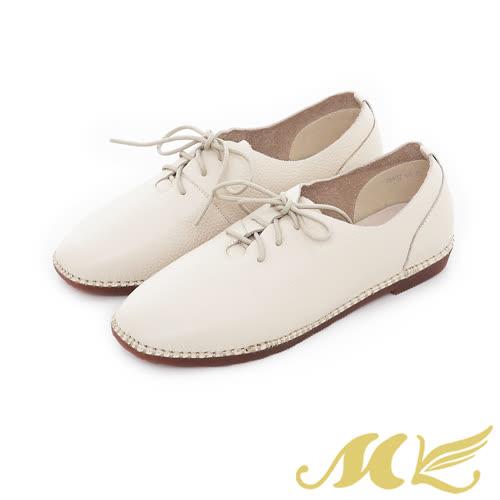 MK-網路限定-超柔軟真皮手縫馬克綁帶平底休閒鞋-米色