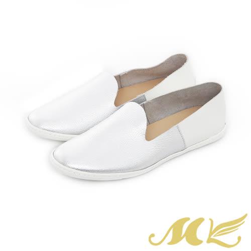 MK-網路限定-透氣真皮撞色懶人平底休閒鞋-銀白