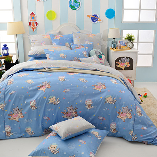 Fancy Belle X DreamfulCat 特大防蹣抗菌吸濕排汗兩用被床包組-夢遊星空