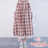 betty's貝蒂思 腰間鬆緊格紋下擺蕾絲長裙(咖啡色)