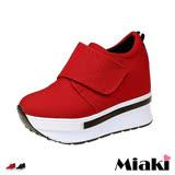 【Miaki】休閒鞋韓風甜美厚底內增高包鞋 (紅色 / 黑色)