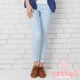 betty's貝蒂思 前兩側假口袋小直筒長褲(淺藍色)