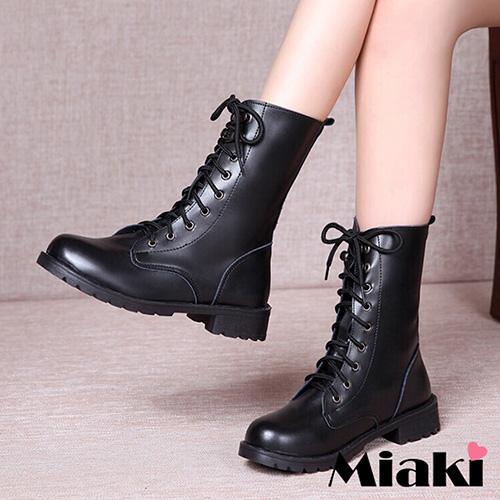 【Miaki】經典不敗圓頭平底馬汀靴中靴休閒鞋 (黑色)