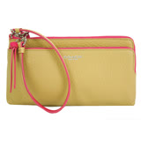 COACH BLEECKER 荔枝紋皮革雙層長型手拿包/手掛長夾(咖桃)