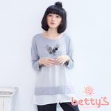betty's貝蒂思 拼接雙層雪紡假兩件七分袖上衣(灰色)