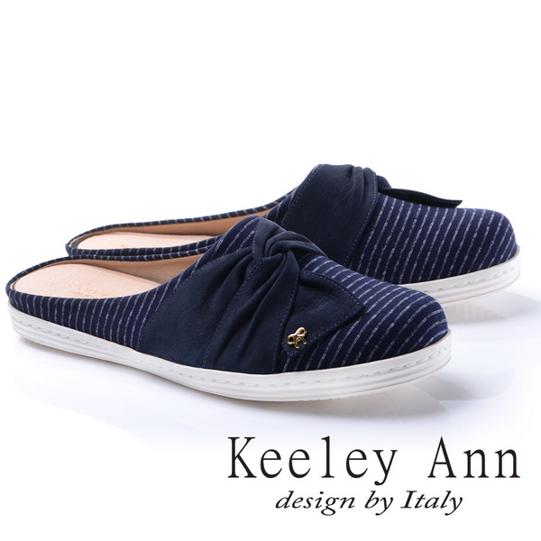 Keeley Ann甜美氣息-造型蝴蝶結條紋真皮軟墊平底懶人拖鞋(藍色784223160)