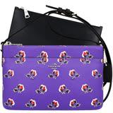 COACH 馬車花朵圖樣PVC斜背包-附可拆長夾(紫色)