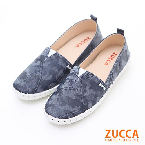 ZUCCA【z6204be】繽紛色渲染彩平底包鞋-藍色