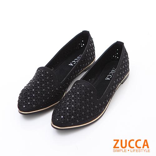 ZUCCA【z6206bk】編織縷空尖頭平底包鞋-黑色