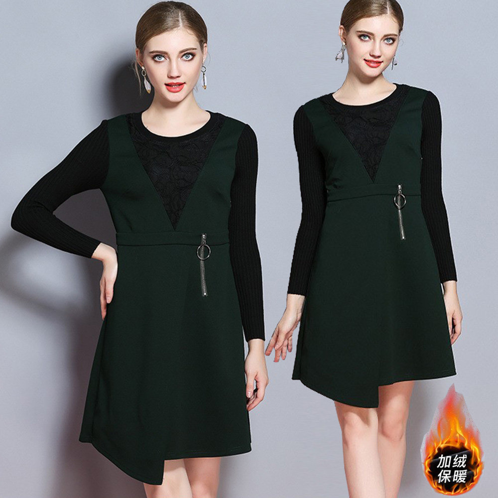 【麗質達人中大碼】7403加絨保暖假二件洋裝(XL-5XL)