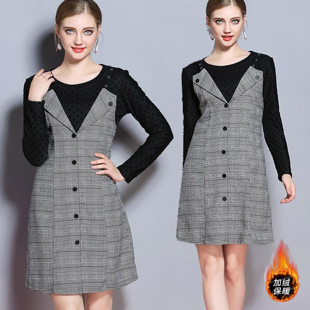 【麗質達人中大碼】7406格紋吊帶洋裝+加絨保暖上衣(XL-5XL)
