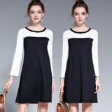 【麗質達人 中大碼】5068黑白拼色假二件洋裝(L-5XL)