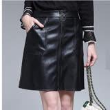 【麗質達人 中大碼】5108黑色仿皮小短裙(L-5XL)